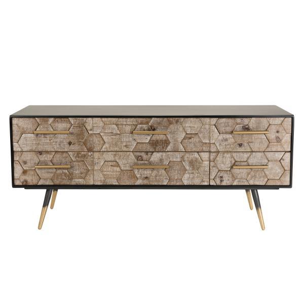 meuble tv scandinave 6 tiroirs en sapin pieds metal debbie
