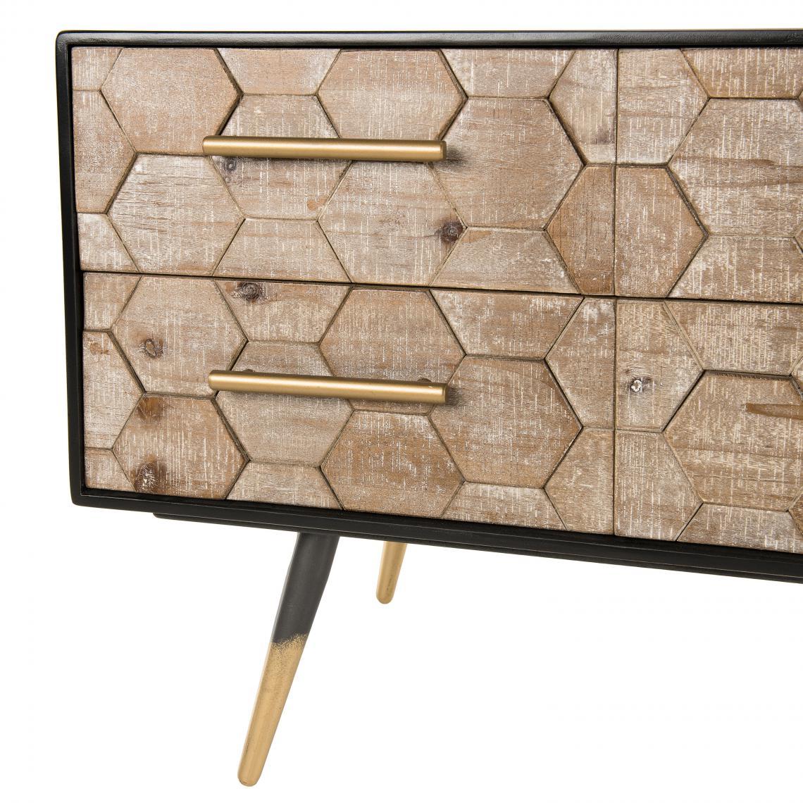 meuble tv scandinave 6 tiroirs en sapin