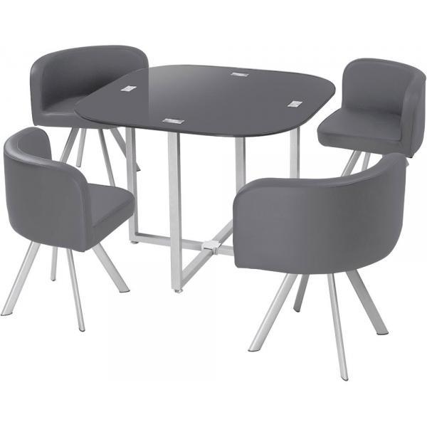table et chaises 90 gris chess
