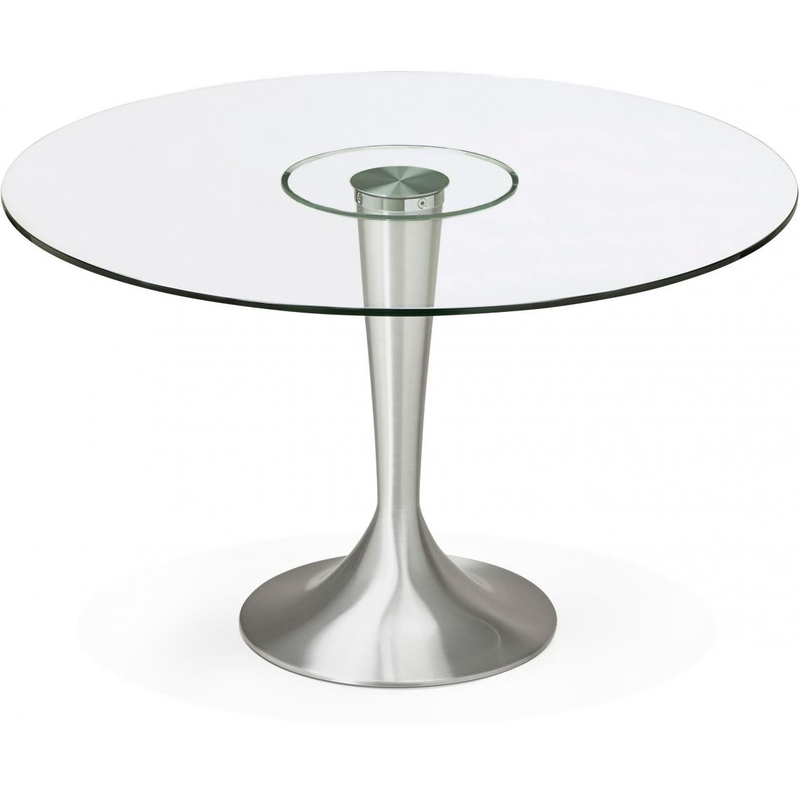 table a manger ronde verre pied metal