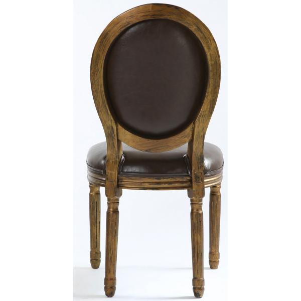 lot de 2 chaises medaillon marron vieilli versailles