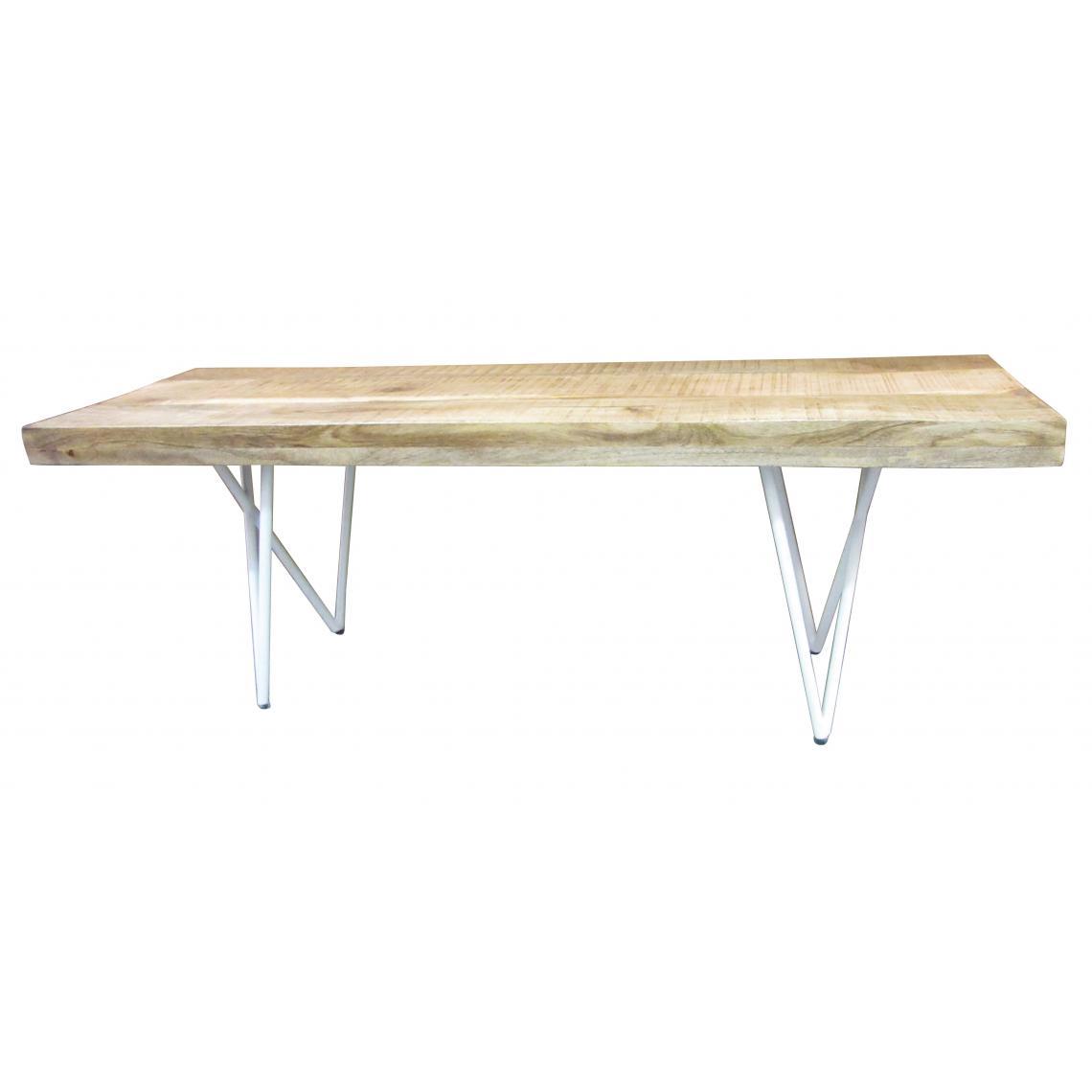 banc en bois et metal blanc 130cm ambrosia