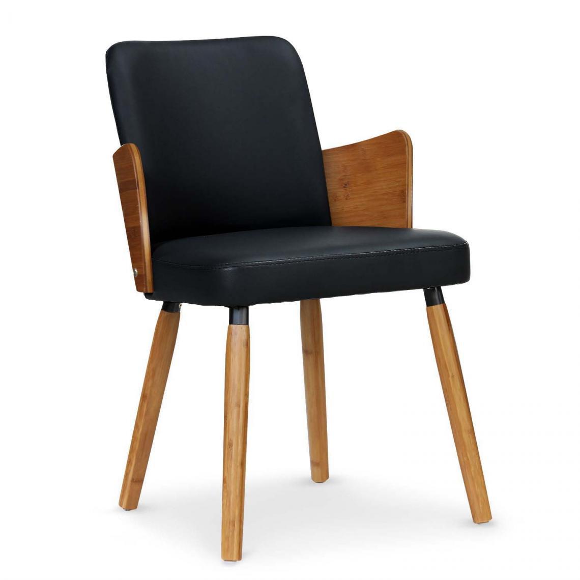 chaises scandinaves bois et noir phibie
