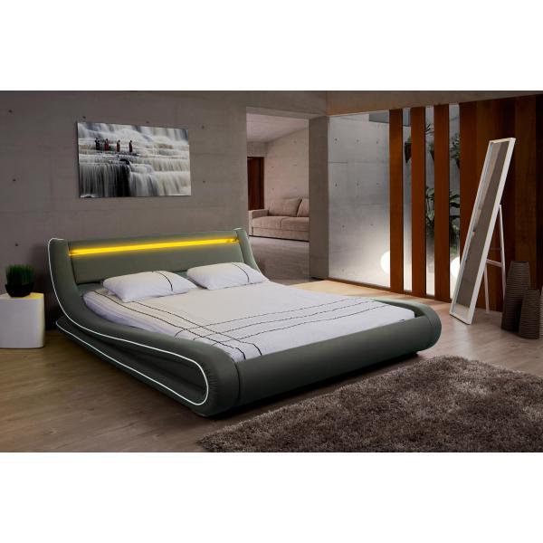lit design led 160x200 gris blanc aurore