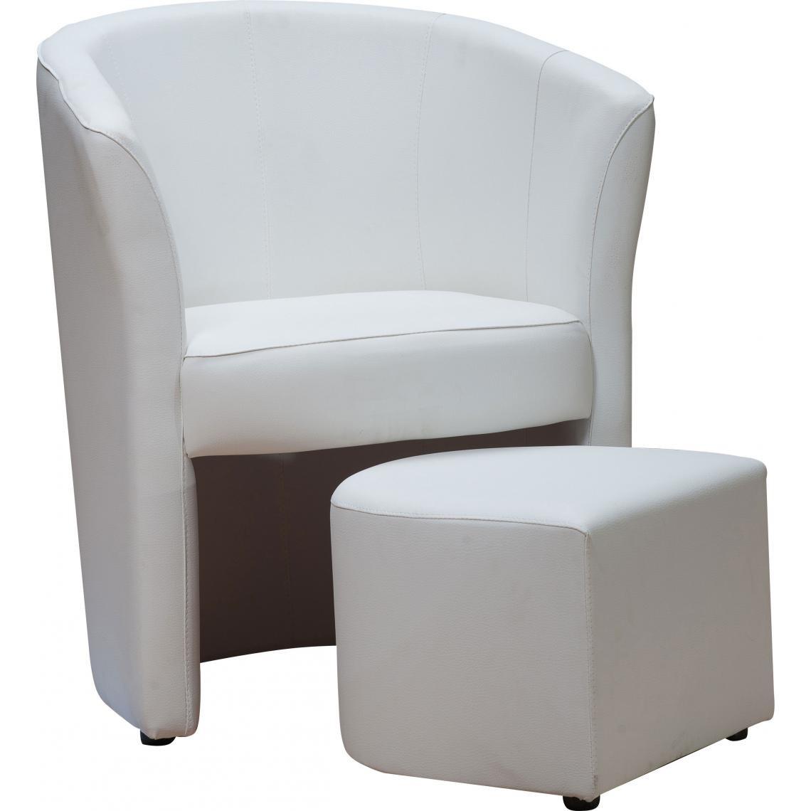 fauteuil cabriolet repose pieds blanc