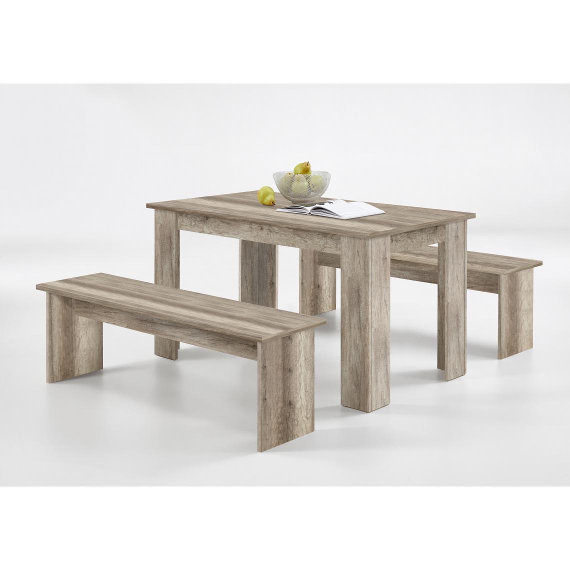 ensemble table 2 bancs marron bois