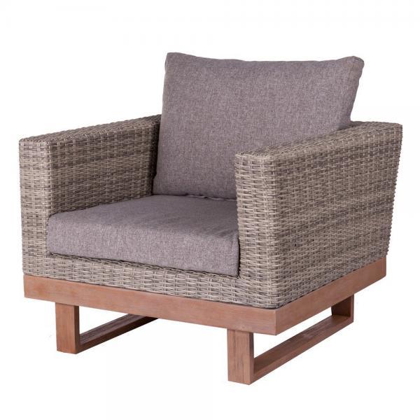 fauteuil de jardin rotin gris chiara