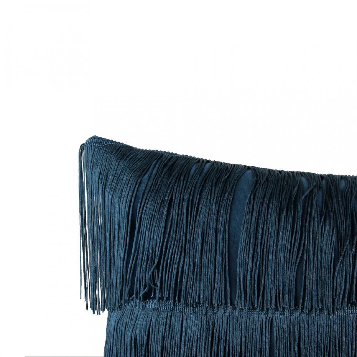 Coussin Velours Franges Bleu Victoria