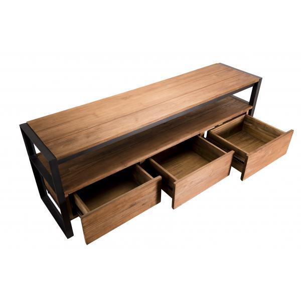 meuble tv sixtine 3 tiroirs et 1 etagere bois teck recycle et metal