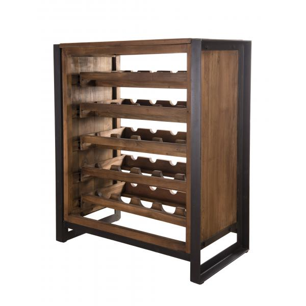 meuble sixtine rangement vin 5 niveaux bois teck recycle et metal
