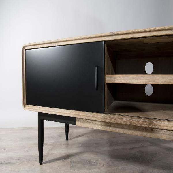 meuble tv paloma 2 portes coulissantes 2 niches bois et metal