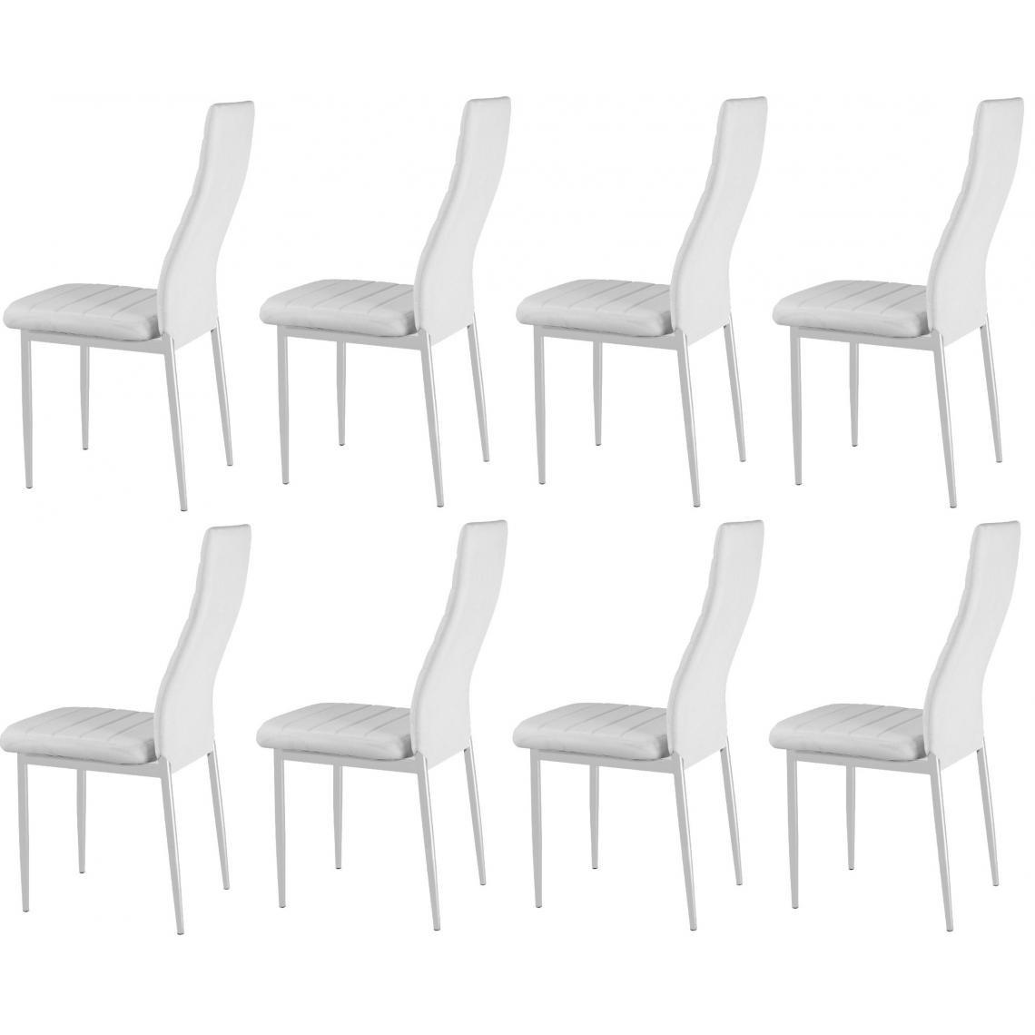lot de 8 chaises blanches en metal san