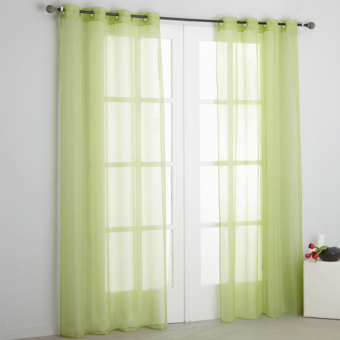 voilage a œillets polyester vert