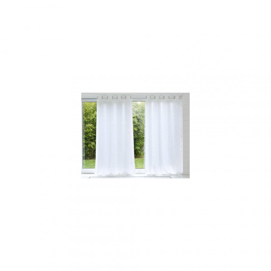 rideau uni lin lave qualite lourde blanc