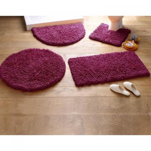 becquet tapis de bain coton longues meches 1500g m2 prune