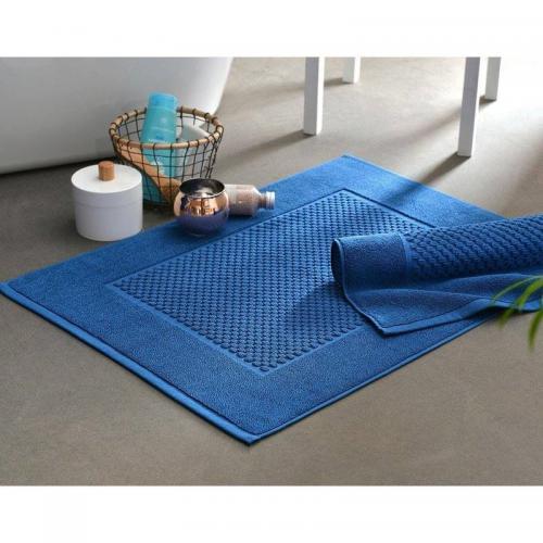 becquet lot de 2 tapis de bain coton jeu de reliefs 800gm2 becquet bleu