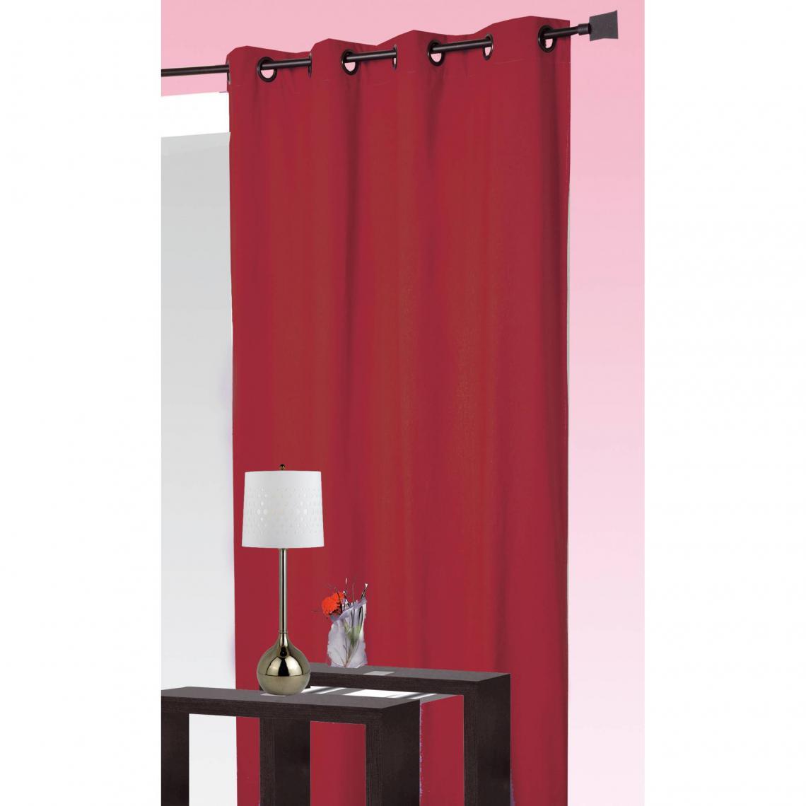 rideau occultant et isolant thermique a oeillets home maison rouge
