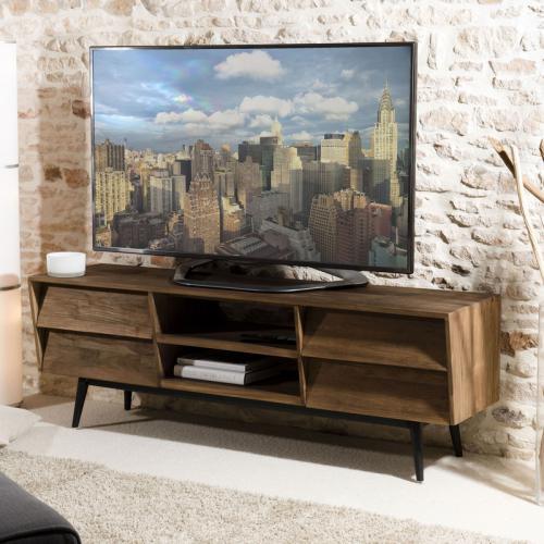 macabane meuble tv 2 niches 4 tiroirs en teck recycle scandi brun