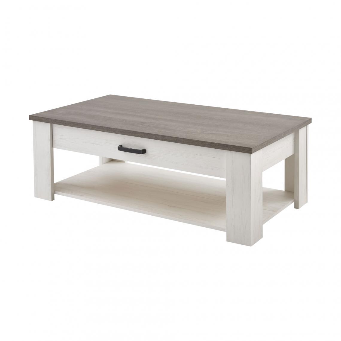 table basse rectangulaire double plateau 1 tiroir marquis decor pin blanc 3 suisses mobilier