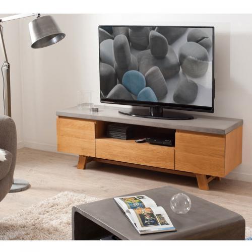 macabane meuble tv en chene plateau baton cire style indsutriel chene clair baton