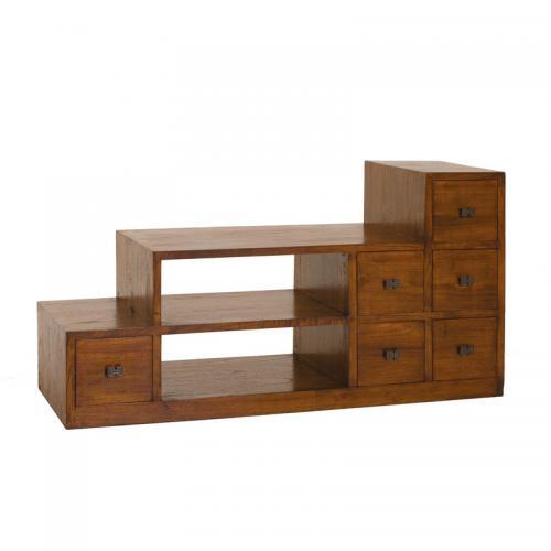 macabane meuble tv escalier 2 niches 6 portes en bois midi
