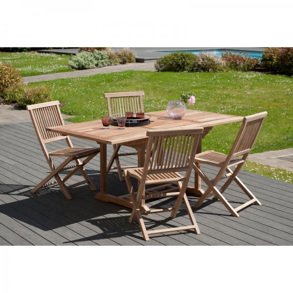 table de jardin 4 6 personnes rectangulaire extensible 120 180 x 90 cm en bois teck