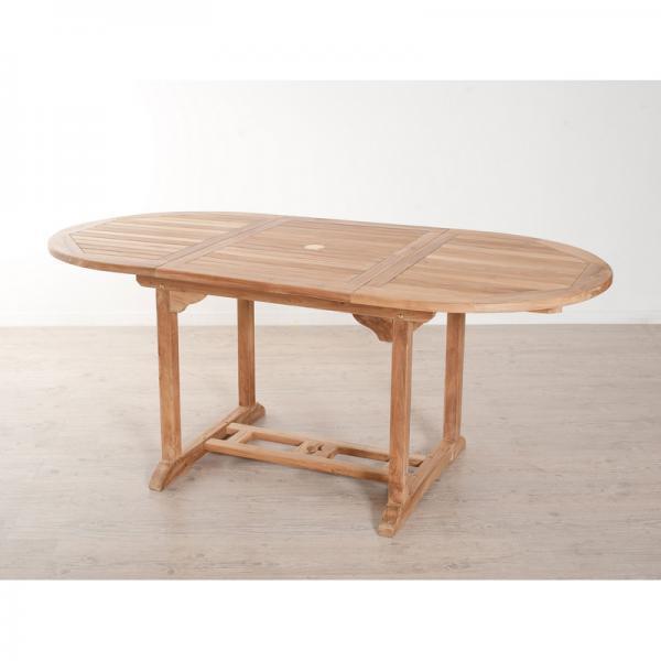 table de jardin 4 6 personnes ovale extensible 120 180 x 90 cm en bois teck