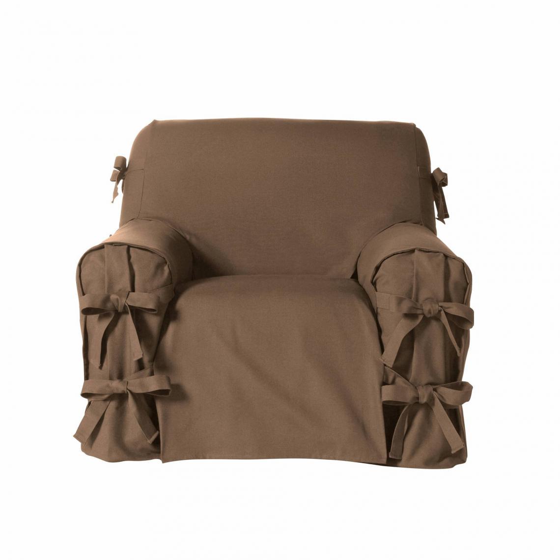 housse fauteuil canape avec accoudoirs a nouettes taupe