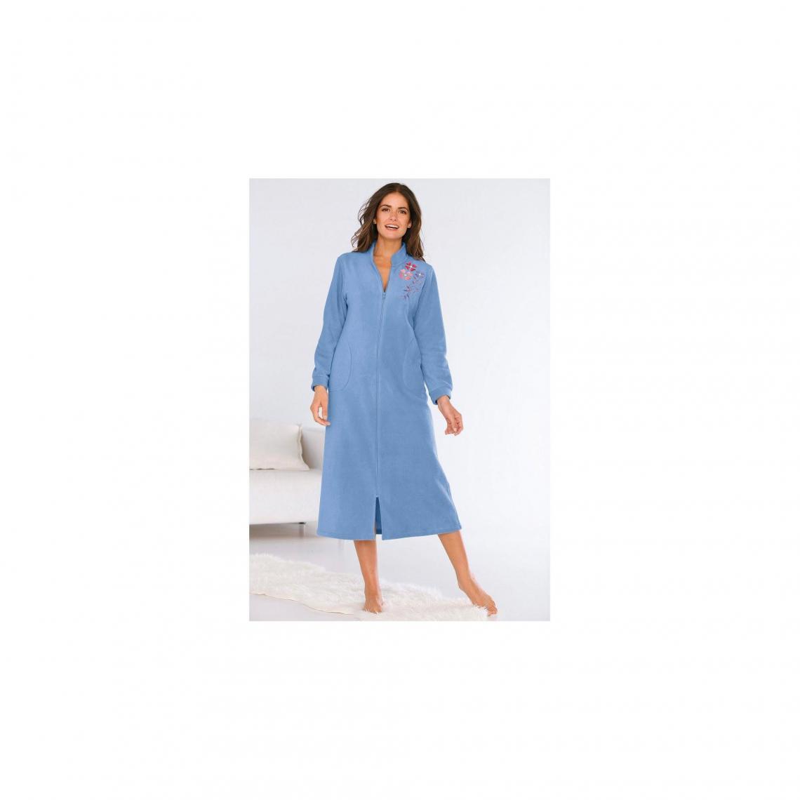 Robe De Chambre Polaire Zippee Avec Broderie Femme Bleu Lavande 3 Suisses