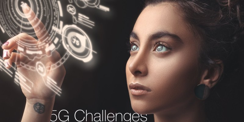 woman looks at dial, 5G challenges written in type