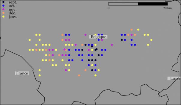 Ubicación de los casos de PPA en jabalíes en Bélgica.