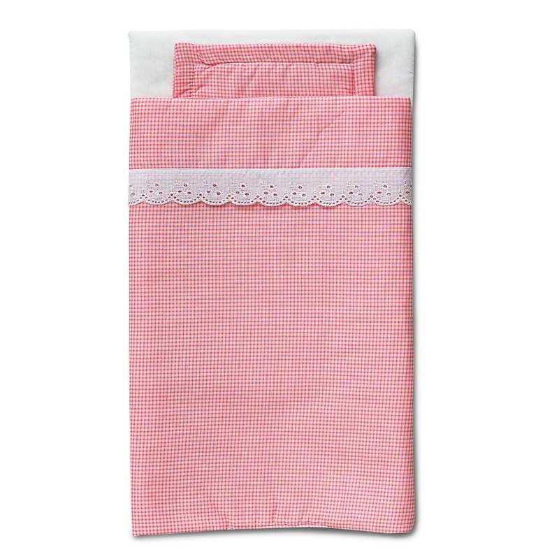 Beddengoed roze ruitjes voor poppenbed Micki  www3vosjesnl
