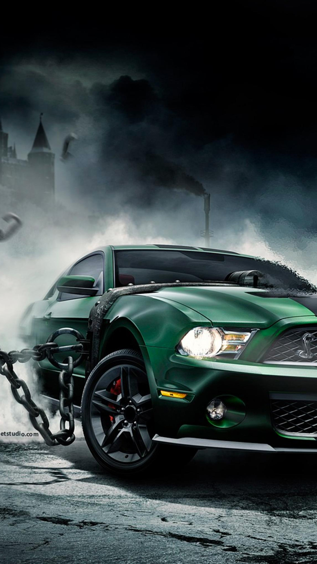 Green Mustang Wallpaper For Iphone X 8 7 6 Free