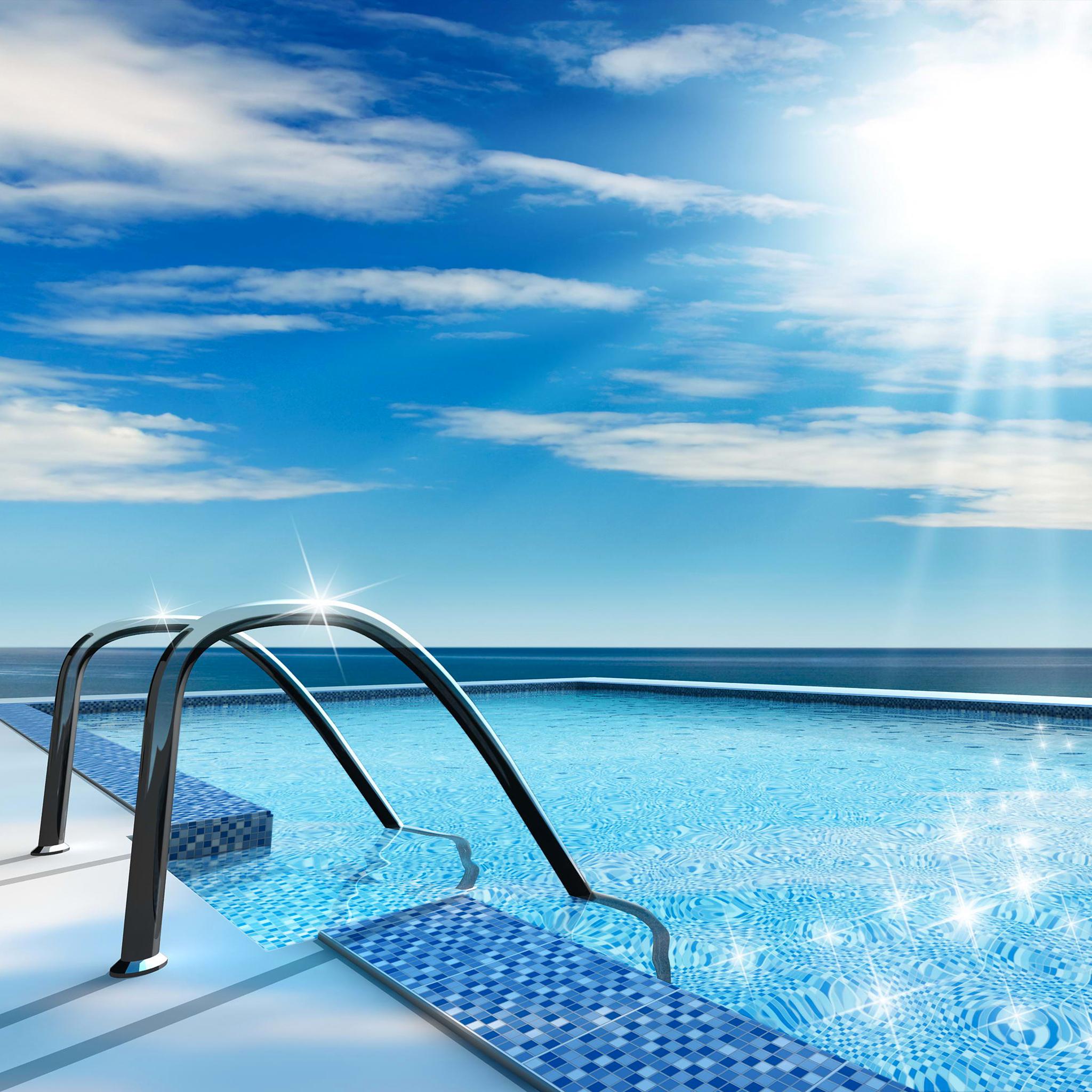 Swimming Pool Glittering Water 3Wallpapers iPad Retina Swimming Pool Glittering Water   iPad Retina