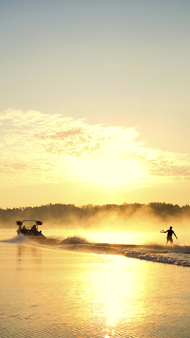 Sunrise Wakeboard 3Wallpapers iPhone Parallax Sunrise Wakeboard
