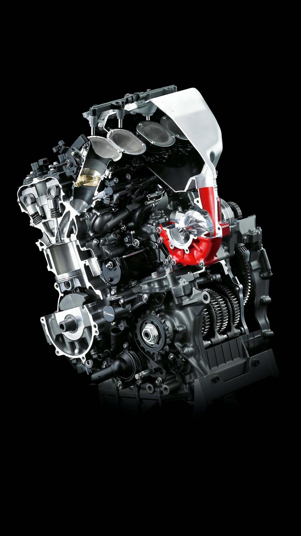 Kawasaki H2R engine iPhone Parallax 3Wallpapers Kawasaki H2R Engine