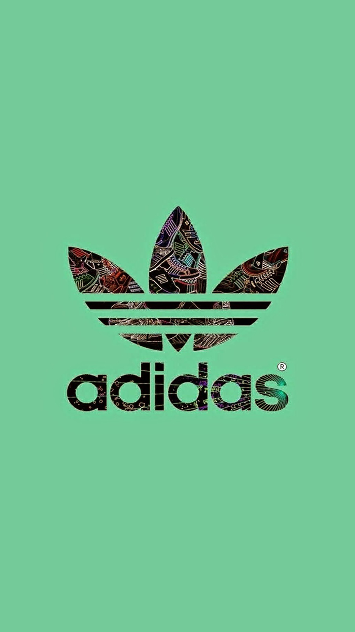 Adidas logo green background 3Wallpapers iPhone Parallax Adidas logo green background