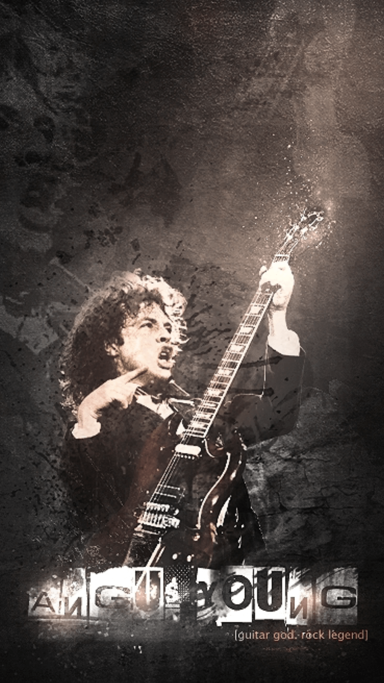 music acdc angus young 3Wallpapers iPhone Parallax AC/DC Angus Young