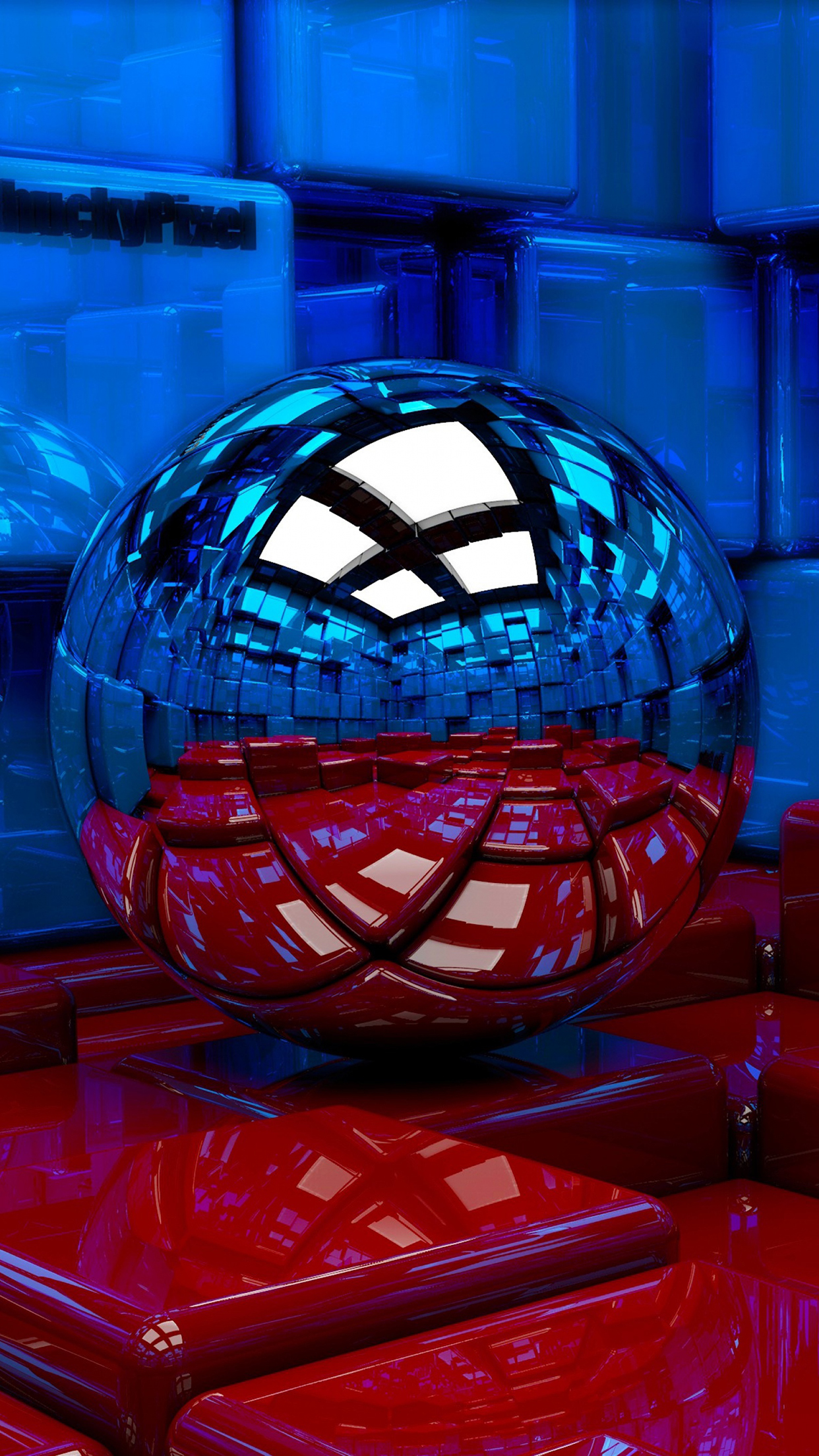 Metal Ball Blue And Red 3Wallpapers iPhone Parallax Metal Ball : Blue And Red