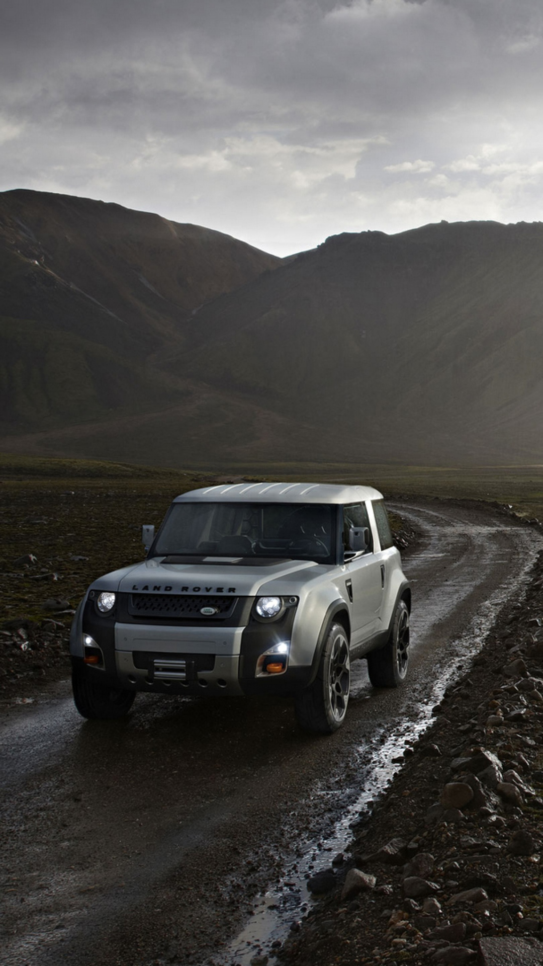 iphone wallpaper land rover dc100 side view mud suv SUV