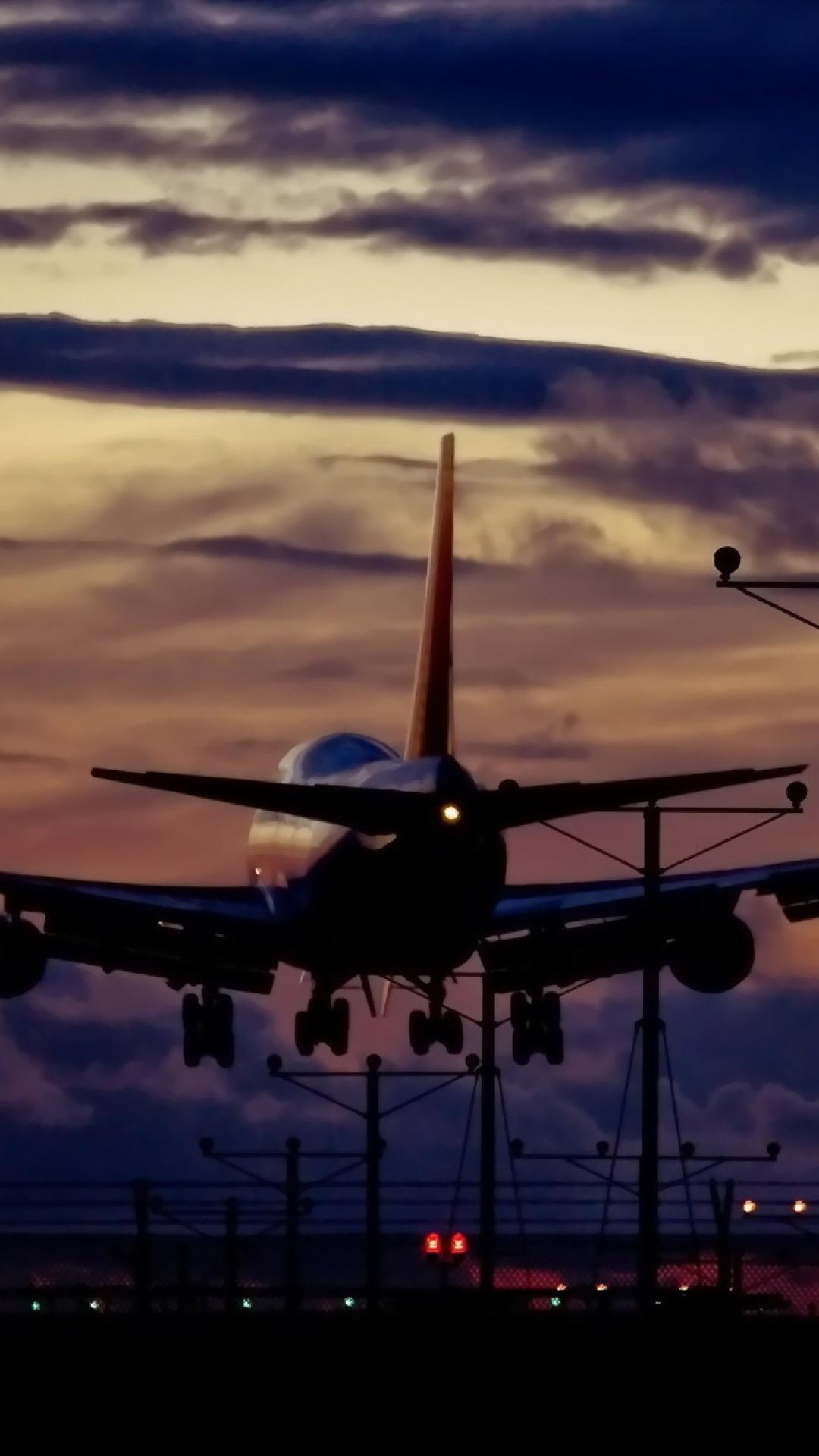 plane taking off night Plane