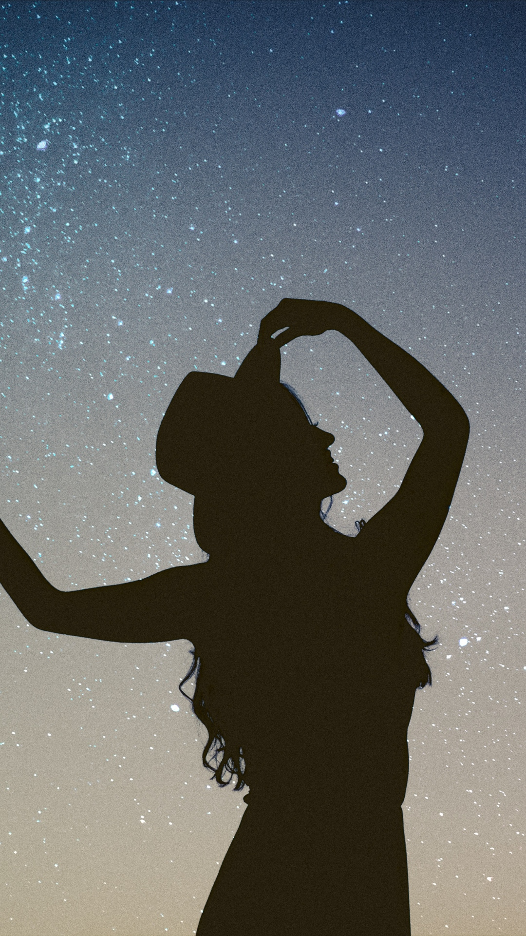 iphone wallpaper silhouette girl starry Silhouette