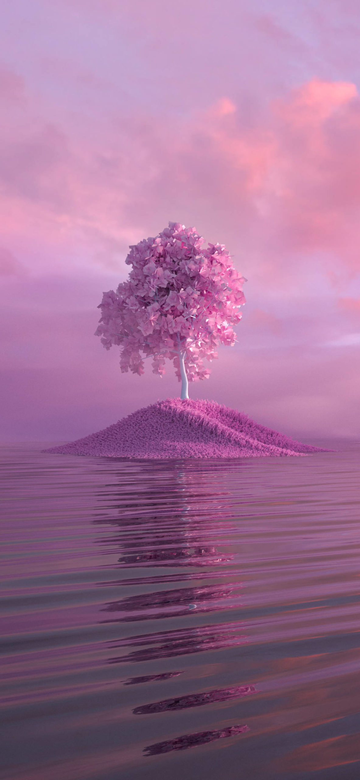 iPhone wallpapers pink tree river scaled Pink