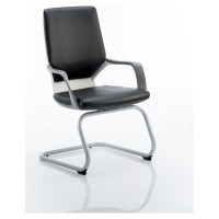 Xenon Visitor Cantilever White Chair Black Leather With ...