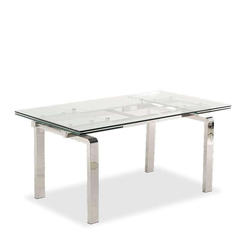 table en verre extensible avec pieds chromes tanina 6
