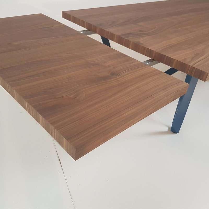 Table Design Extensible En Mtal Et Bois Wave 4 Pieds