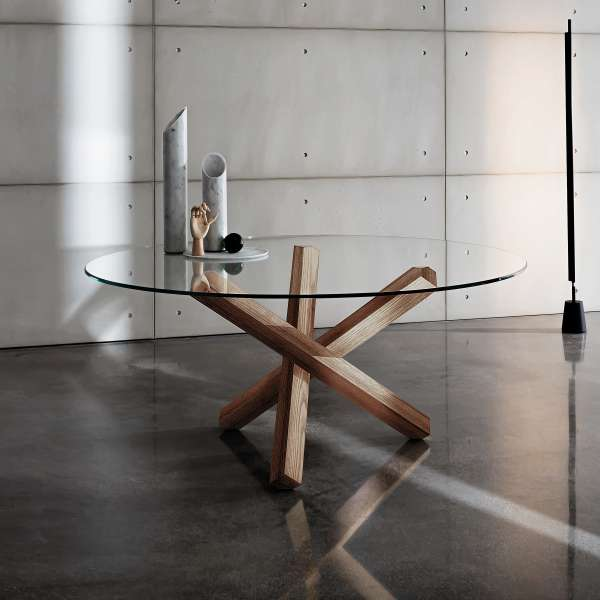 Table en verre design ronde  Aikido Sovet  4piedscom