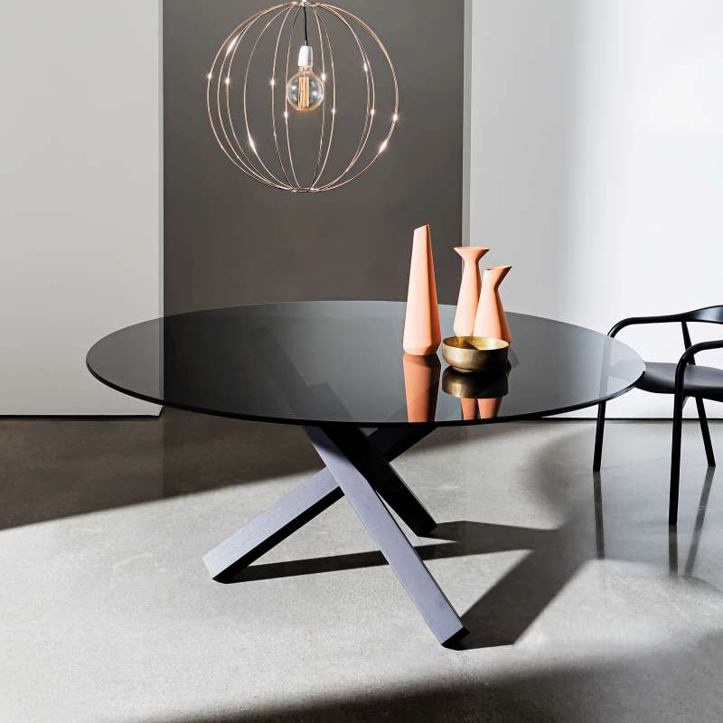 Table En Verre Design Ronde Aikido Sovet