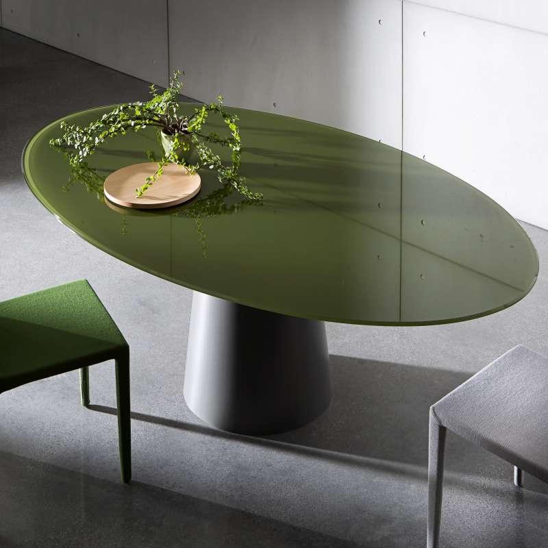 Table Ovale Design En Verre Totem Sovet