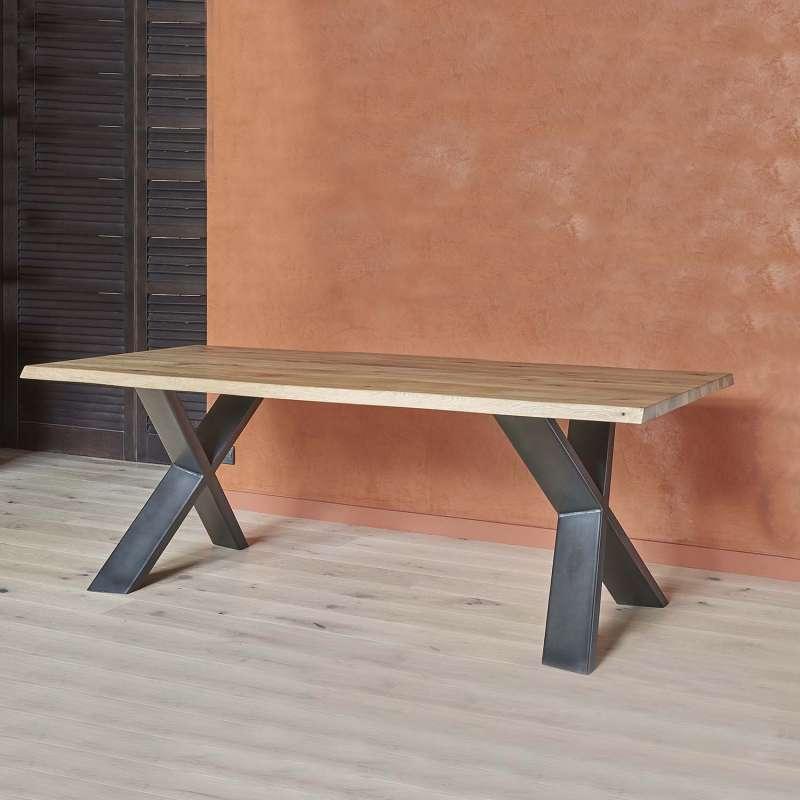 table de salle a manger design extensible en bois et metal forest 2